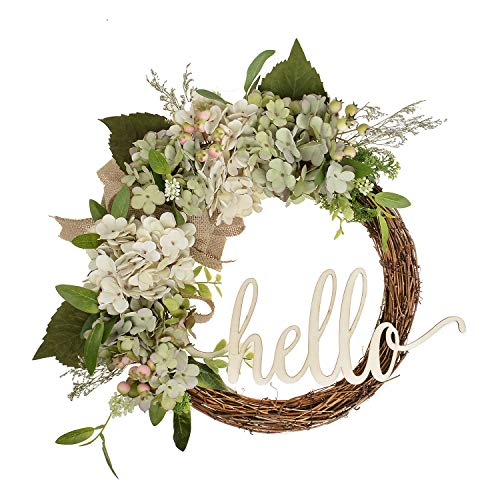 Cheap FAVOWREATH 2018 Vitality Series FAVO-W145 Handmade 14 inch Hydrangea,Leafs,Grass,Burlap Bow,Hello Letter Grapevine Wreath for Fall Front Door/Wall/Fireplace Floral Hanger Home Every Day Decor