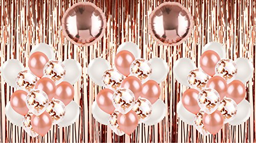 Rose Gold Balloons (45) Confetti Party Decorations Kit Foil Mylar Tinsel Metallic Fringe Backdrop Streamer Shimmer Curtain Bridal Shower Bachelorette Party Engagement Birthday Weddings Selfie - Confetti Fringe