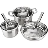 3 Sets of Stainless Steel Cookware with tempered glass Lids -JUNING