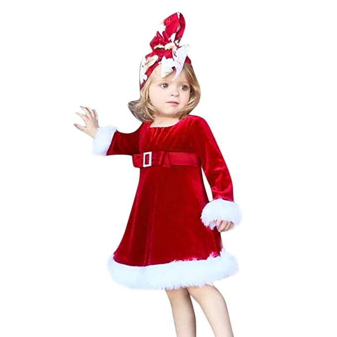 BYSTE Ragazza Natale Flanella Abito Bambino Baby Girl Rosso Vestiti di  Natale Vestito Costume Vestito da Principessa Bambini Ragazze Abiti di  Sera  ... d73d041531ac