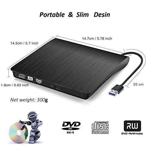 External CD DVD Drive , Portable DVD Rewriter Burner, USB 3.0 DVD Drive CD +/-RW DVD +/-RW Burner Super Drive for Apple Mac Macbook Pro Windows 10 Laptop PC (Black) by feifuns (Image #1)
