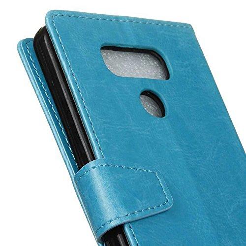 Cristal de grano de cuero de la PU de la carpeta de la caja del teléfono del soporte de la caja cubierta suave del silicón con las ranuras del efectivo de la tarjeta y función del soporte para LG G6 ( Blue