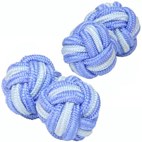 Cuffs & Co Pale Blue & Light Blue Silk Knot (Light Blue Knot Cufflink)