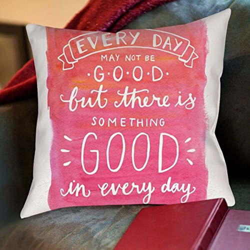 American Flat Something Good In Every Day Hand Lettered Pillow by Samantha Ranlet, 18'' x 18'' by Americanflat