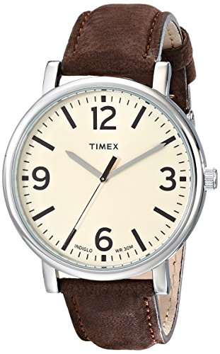 Timex Unisex T2P526AB Originals Silver-Tone Watch with Brown Leather Band
