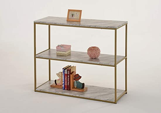 3-Tier Console Table Gold Frame Finish Sofa Entry Table with Faux White Marble Bookcase Bookshelf