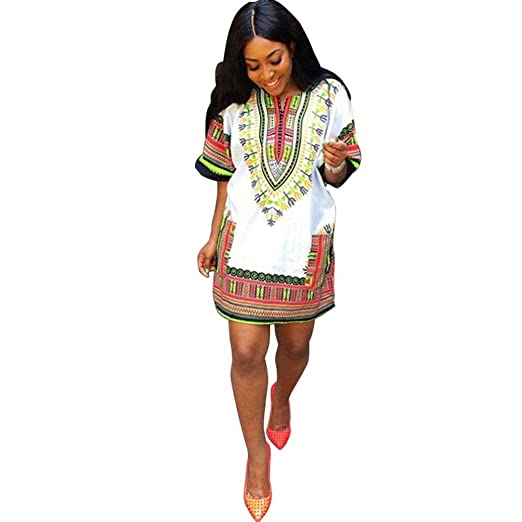 db42e995210c Perman Women Summer Traditional African Print Dress Casual Knee Mini Dresses  (S)