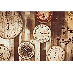Laeacco Steampunk Theme Backdrop 10x6.5ft Vinyl Photography Background Retro Antique World Map Flowers Wall Clocks Grunge Splicing Smoked Wooden Wall Artistic Candlestick Child Baby Adult Shoot