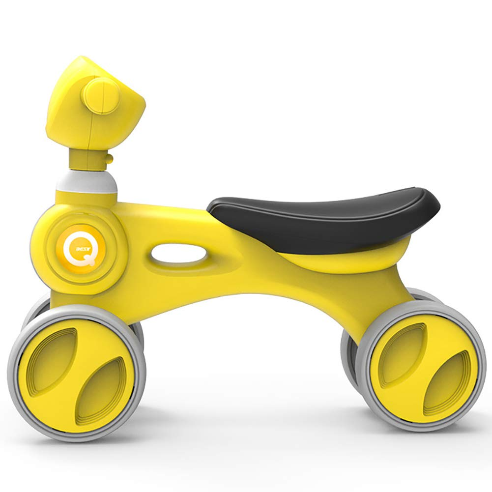 Yellow ZXDBK Kids Balance Bike, Fourwheel Walking Bike, Ultra Light No Foot Pedal Bike 1 Year Old Boys Girls Baby Walking Bike First Bike