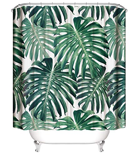 Golden Sun Waterproof Fabric Shower Curtain for Bathroom,Colorful Funny Bathroom Curtains with Standard Size 72 x 72 Inch (Tropical Palm Leaves)