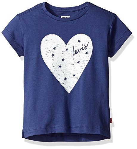 Levi's Little Girls' Hi-Low Short Sleeve Boxy T-Shirt, Deep Cobalt, 6