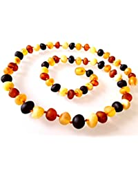 Natural Raw Unpolished Baltic Amber Necklace / Healing Amber Necklace / Baroque Beads / Certified Genuine Baltic Amber