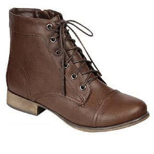 Breckelle's GEORGIA-41 Women's Lace Up Combat Ankle Boots Booties,Georgia-41 Brown 5.5