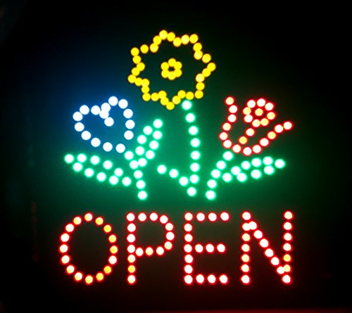 E-ONSale Ultra Bright Flower Shop Store LED OPEN Sign Super Size 19