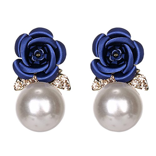 18K Gold Plated CZ White Crystal Back Hanging Blue Rose Flower With Pearl Women Stud earrings ()