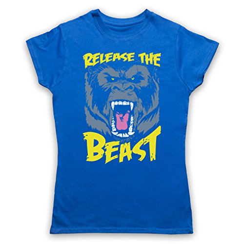 Release The Beast Gym Workout Slogan Camiseta para Mujer Azul Real