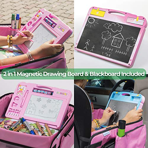 Pink Toddler Car Seat Travel Tray | +Bonus 2 in 1 Magnetic Doodle Board & Chalkboard | Kids Carseat Activity Tray, Lap & Play Tray for Car Seat and Stroller by Kidsmarter by KIDSMARTER (Image #3)