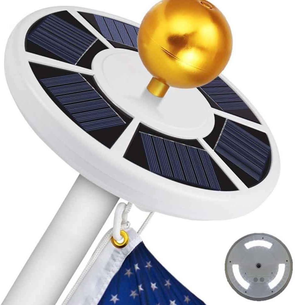 Tacey 42 LED-Licht Solarflaggenmast Solarbetriebene Flaggenmastleuchten F/ür Eine Lange Lebensdauer Von Bis Zu 10 Stunden Superhelle Flaggenmast-LED 6 Sonnenkollektoren