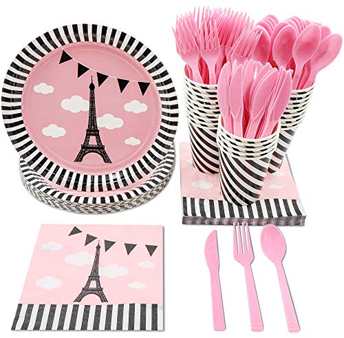 Disposable Dinnerware Set - Serves 24 - Party Supplies for Kids Birthdays, Baby Shower, Bridal Showers, Eiffel Tower Design, Includes Plastic Knives, Spoons, Forks, Paper Plates, Napkins, Cups