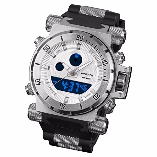 INFANTRY Men's Aviator Night Vision Analog Digital Quartz Wrist Watch with Rubber Strap - White [並行輸入品] B01NCR4396