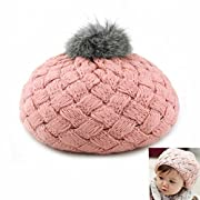 AStorePlus Kids Winter Hat - Baby Girl's Slouchy Knitted Beret Hat Thick Wool Beanie Cap With Pom Pom, Pink