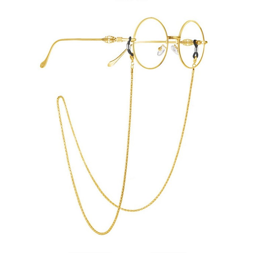 Milopon Glasses Strap Retainer Eyeglass Cords String Sunglass Holder Strap Chain Metal (Gold)