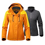 OutdoorMaster Women's 3-in-1 Ski Jacket - Winter Jacket Set with Fleece Liner Jacket & Hooded Waterproof Shell - for Women (Papaya Orange,S)