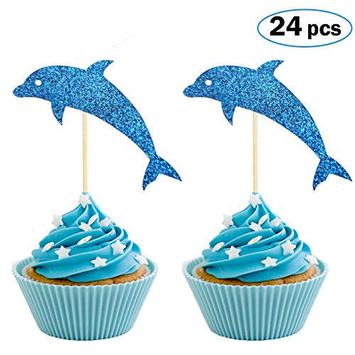 (Dolphin Cupcake Toppers, Aquarium Cake Topper, Under the Sea Theme Party Supplies, Dolphin Baby Shower Birthday Party Decorations (Set of)