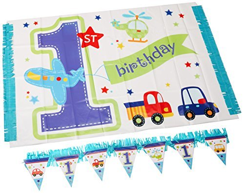 Amscan All Aboard Boy 1st Birthday High Chair Decorating Kit, Large, Blue/White (Pennant Train)