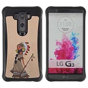 Suave TPU GEL Carcasa Funda Silicona Blando Estuche Caso de protección (para) LG G3 / CECELL Phone case / / Indian Girl Feather Headdress Arrow /