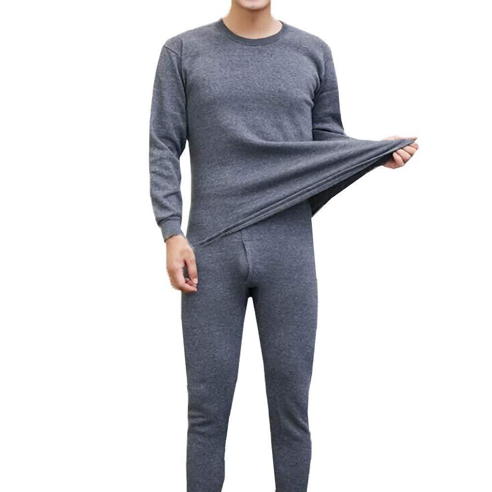 HNRYUDCF Herren Winter Thermo-Unterwäsche Anzug Komfortable hohe Qualität runder Kragen Reine Farbe warme Kleidung Set, M