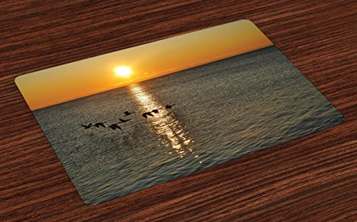Ambesonne Birds Place Mats Set of 4, Silhouettes of Canadian Geese Flying Over a Lake at Sunrise Romantic Scenery, Washable Fabric Placemats for Dining Room Kitchen Table Decor, Orange and Gray Canadian Place