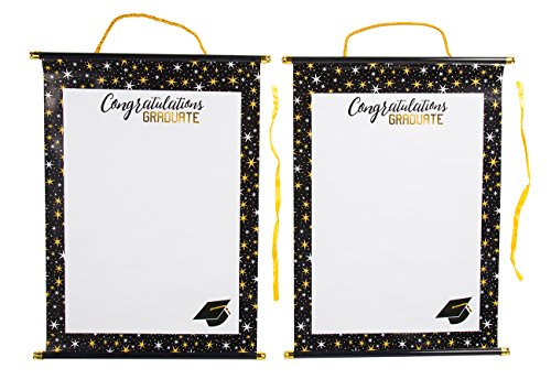2-Pack Graduation Party Signature Scrolls - Graduation Keepsake Sign-In Paper Scrolls with Plastic Dowels, White with Color Border, 17.5 x 1.5 Inches