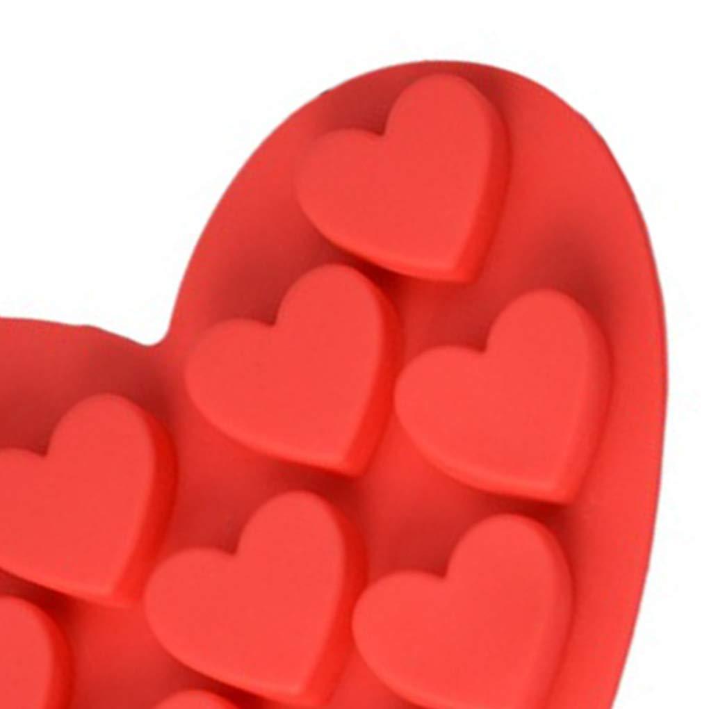 Zerama DIY del Caramelo de Chocolate de Silicona moldes del Cubo de Hielo Bandejas de la Torta de Hornear Galletas Corazones de Molde Rojo Forma