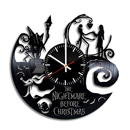 The Nightmare Before Christmas Vinyl Clock - Jack Skellington Halloween Town Vinyl Records Wall Art Room Decor Handmade Decoration Party Supplies Original Gift- Vintage Modern Style -
