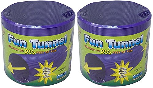 (2 Pack) Ware Plastic Small Pet Fun Tunnel, Large, Purple/Green