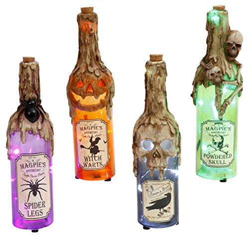 Gerson Lighted Resin and Glass Halloween Bottle w/Timer, Set/4 Asst ()