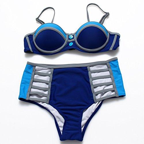 YONGYI Europa y los elegantes y atractivos gráficos de color hechizo pecho reunir acero Y ROPA INTERIOR BAÑADORES bañador bikini Sra. split kit Blue