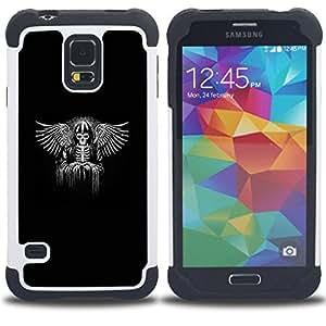 Jordan Colourful Shop - Black Wings King Throne White Angel For Samsung Galaxy S5 I9600 G9009 G9008V - < Llevar protecci????n de goma del cuero cromado mate PC spigen > -