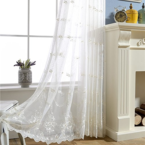 WINYY 1 Panel Embroidery Beading Sheer Curtain White Tulle Lace European Drape Rod Pocket Top for Living Room Bedroom Sliding Glass Door Kitchen Home Decor W52 x H84 inch (Beading Curtain)