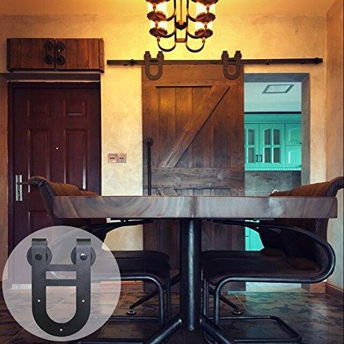 CCJH American Country Horseshoes Style Steel Sliding Barn Door Hardware Interior for Single Door Black (11FT)