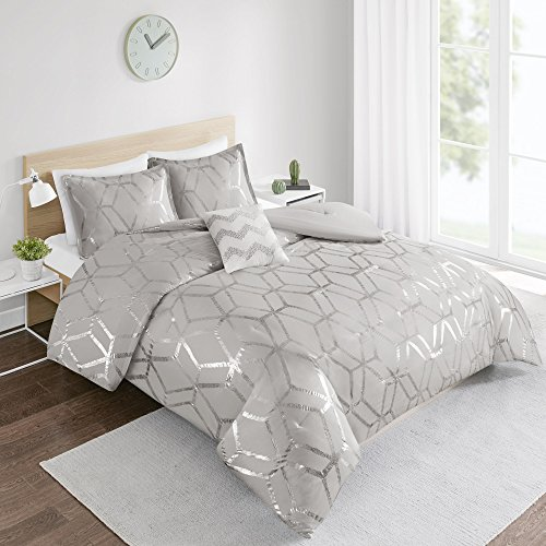 Comforter Set Queen Bedding Set - Vivian 4 Piece Grey/Silver - Geometric Metallic Print - Hypoallergenic Soft Microfiber Lightweight All Season Queen Comforter - Fits Full/Queen