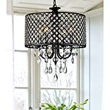 Cheap Lumos Antique Black 4-light Round Crystal Chandelier Drum pendant ceiling lighting Fixture for dining room, living room