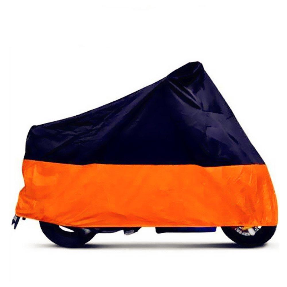 Tokept Black and Orange Waterproof Sun Motorcycle cover (XXXL).116'' for Honda Kawasaki Yamaha Suzuki Harley Davidson by Tokept (Image #2)