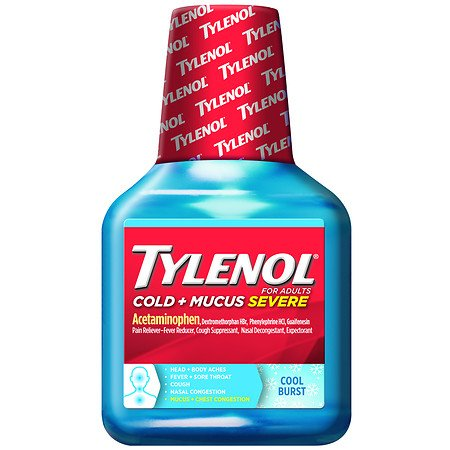 Tylenol Cold and Mucus Severe Liquid Cool Burst 8 Ounces Pack of 4