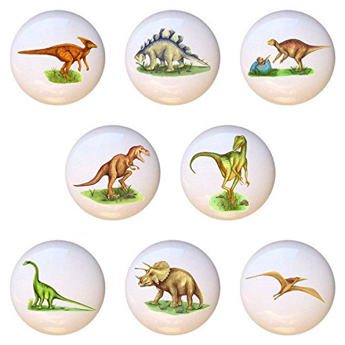 (SET OF 8 KNOBS - Realistic Dinosaurs - DECORATIVE Glossy CERAMIC Cupboard Cabinet PULLS Dresser Drawer KNOBS)