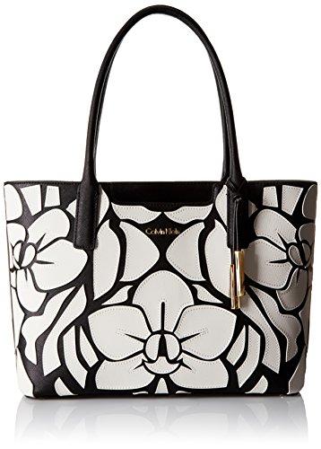 Calvin Klein Saffiano-novelty Tote Black/white Floral H6ab11nb