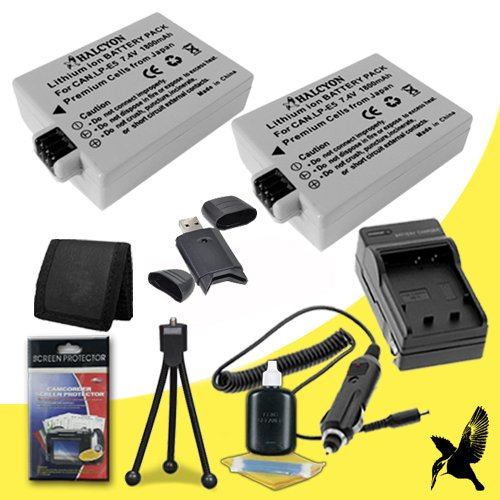 Two Halcyon 1800 mAH Lithium Ion Replacement LP-E5 Battery and Charger Kit + Memory Card Wallet + SDHC Card USB Reader + Deluxe Starter Kit for Canon EOS Rebel T1i, XS, XSi Digital Cameras and Canon LP-E5