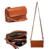 Gottowin Women's Leather Purse Dual Straps Wallet Clutch Multi Pockets Wristlet Handbag Cross-body Bag Organizer Zipper Pouch + Extra Card Holder