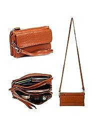 Gottowin Women's Leather Purse Dual Straps Wallet Clutch Multi Pockets Wristlet Handbag Cross-body Bag Organizer Zipper Pouch + Extra Card Holder